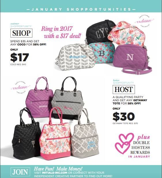 January's Customer & Hostess Shopportunities!! New beauties from the new catalog coming out in February!!  www.myinitials-inc.com/YTRAVERSA/
