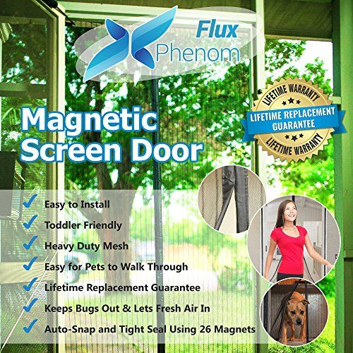 Flux Phenom Reinforced Magnetic Screen Door, Fits Door Up To 38 x 82-Inch  - The Flux Phenom magnetic screen door is a must have for any household! The instant screen door installs in just a few minutes in any doorway of your home and keeps bugs out, let's fresh air in, and allows your dog or cat to freely go in and out of the house. All hardware included (for metal or wo...