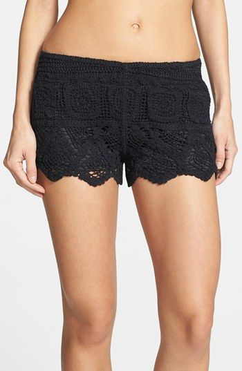 $36, Black Crochet Shorts: Surf Gypsy Crochet Shorts Black Large. Sold by Nordstrom. Click for more info: https://lookastic.com/women/shop_items/60501/redirect