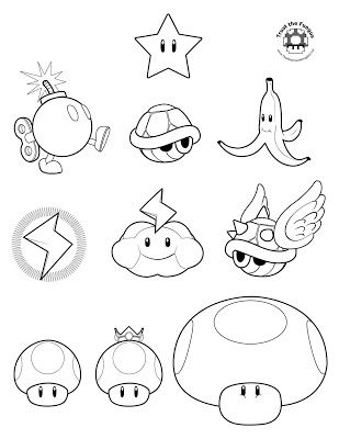 jimbo's Coloring Pages: Mario Kart Wii coloring pages. Use to make decorations for mariokart party