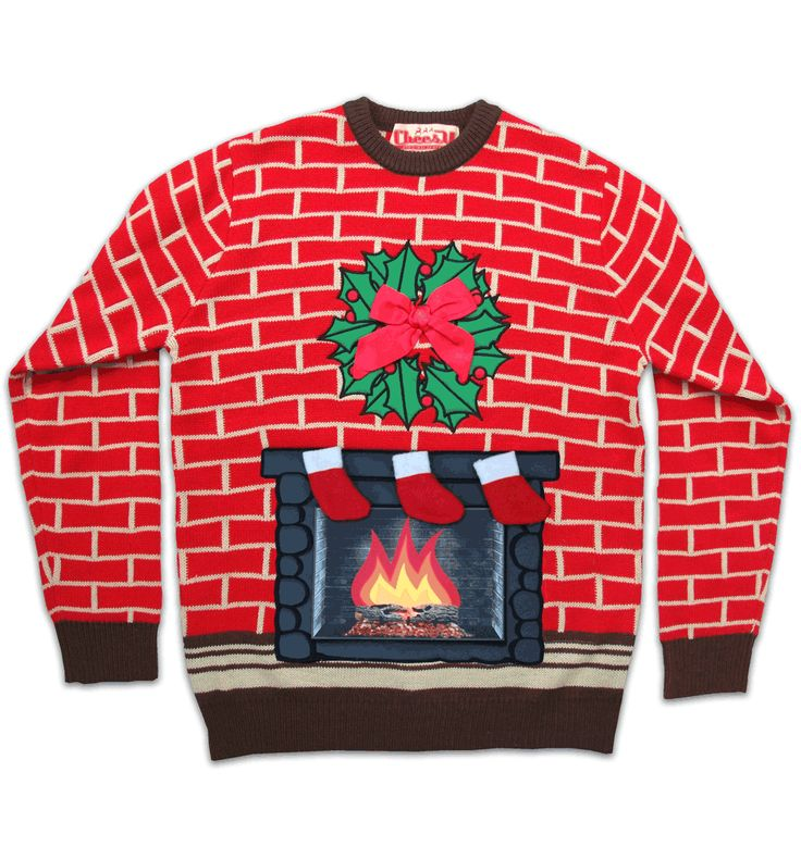 Unisex Retro Flashing Fireplace With 3D Stockings and Bow Christmas Jumper From Cheesy Christmas Jumpers : TruffleShuffle.com