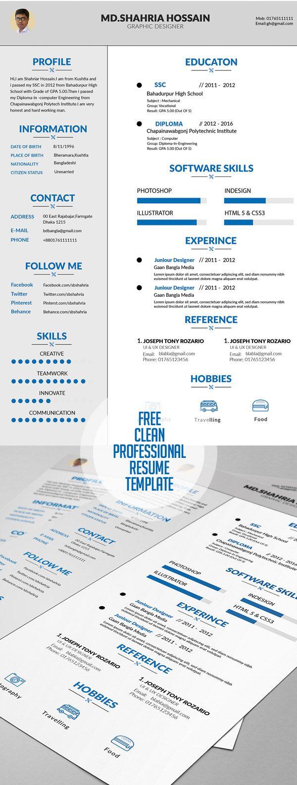 Free Clean Proffesional Resume Design #resume templates #coverletter #cvresume #freepsdfiles #freebies #minimalresume #portfoliopage