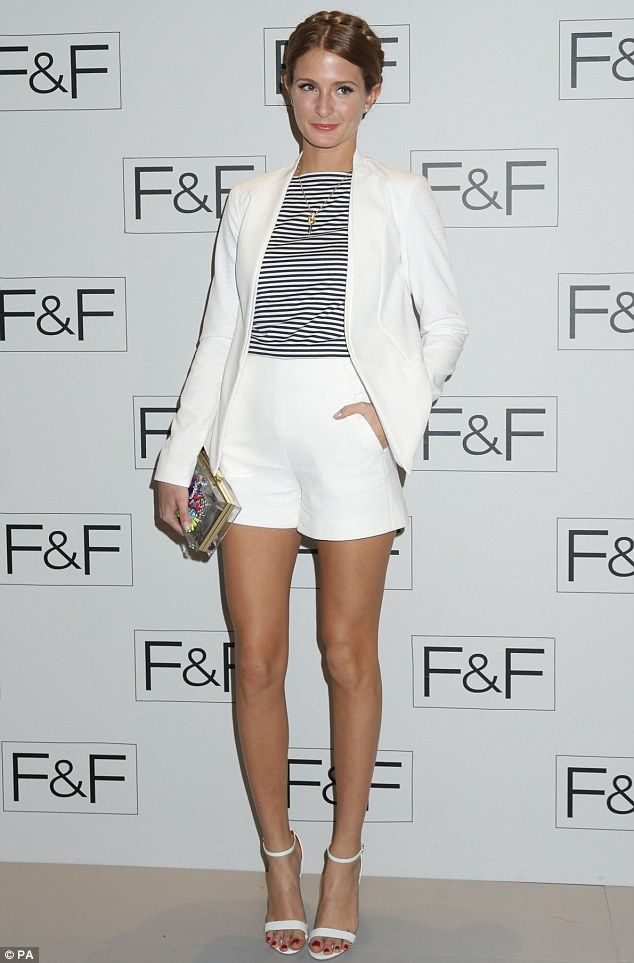 Millie Mackintosh.. Zara shorts, Sunspel Clothing top, New Look blazer, and River Island bag and heels..