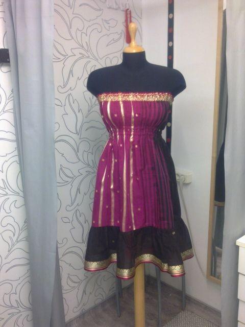Indiai száriból ruha, Ruha, divat, cipő, Női ruha, Estélyi ruha, Pink színű száriból készült ruha. Be van bélelve ugyanúgy az anyagából. Az alján és a te..., Meska