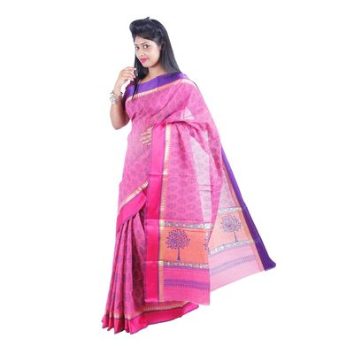 Light Pink Printed Silk Cotton Saree  with blouse By SHRE Sarees on Shimply.com