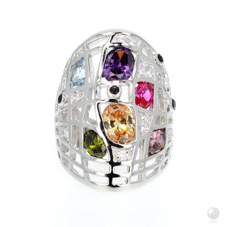"""FERI - Rain & Shine - Ring - Exclusive FERI 950 Siledium silver - Exclusive dual natural rhodium and palladium plating - Set with exclusive FERI Swan cut lab stones - Colour: white and highlighted in multi-colour - Dimension: 35mm (1.4"""") - Wt. 12.6/gm. - Oval 6x4mm, 7x5mm,8x6mm  Invest with confidence in FERI Designer Lines.   www.gwtcorp.com/ghem or email fashionforghem.com for big discount"""
