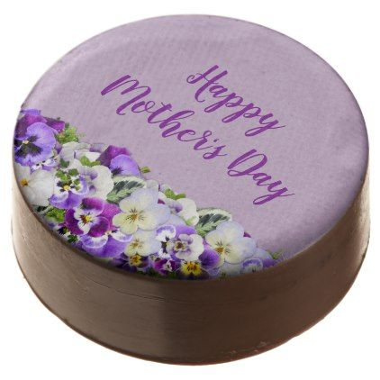 Custom Purple Flowers Happy Mother's Day Chocolate Dipped Oreo - purple floral style gifts flower flowers diy customize unique