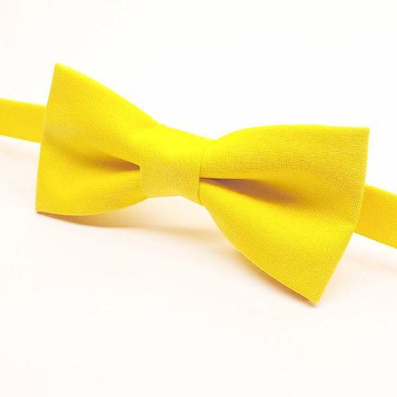 Bright Yellow Bow tie , Men's Yellow Bow tie, Kids Yellow Bow tie, Yellow Baby Bow tie by FlyTiesforFlyGuys