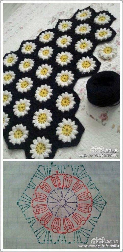 六角形フラワーモチーフ編み図