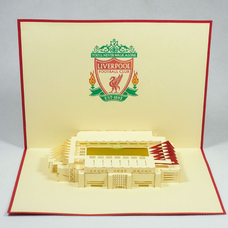 Pop up station card/ST004- Liverpool/Pop up handmade station card for FC/Kirigami pop card/ Paper cutting pop up sport card/wholesales pop card Vietnam