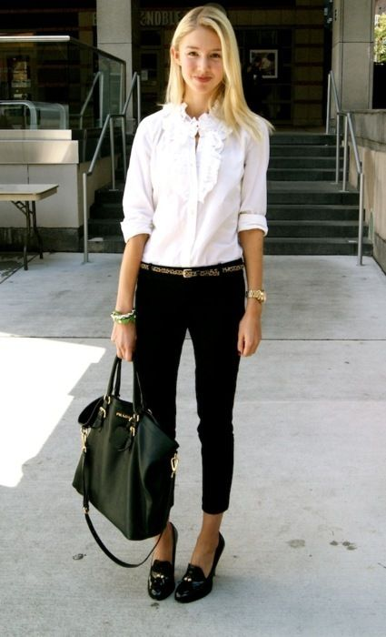 ruffled white shirt + cropped pants + loafer heels = perfect for work!