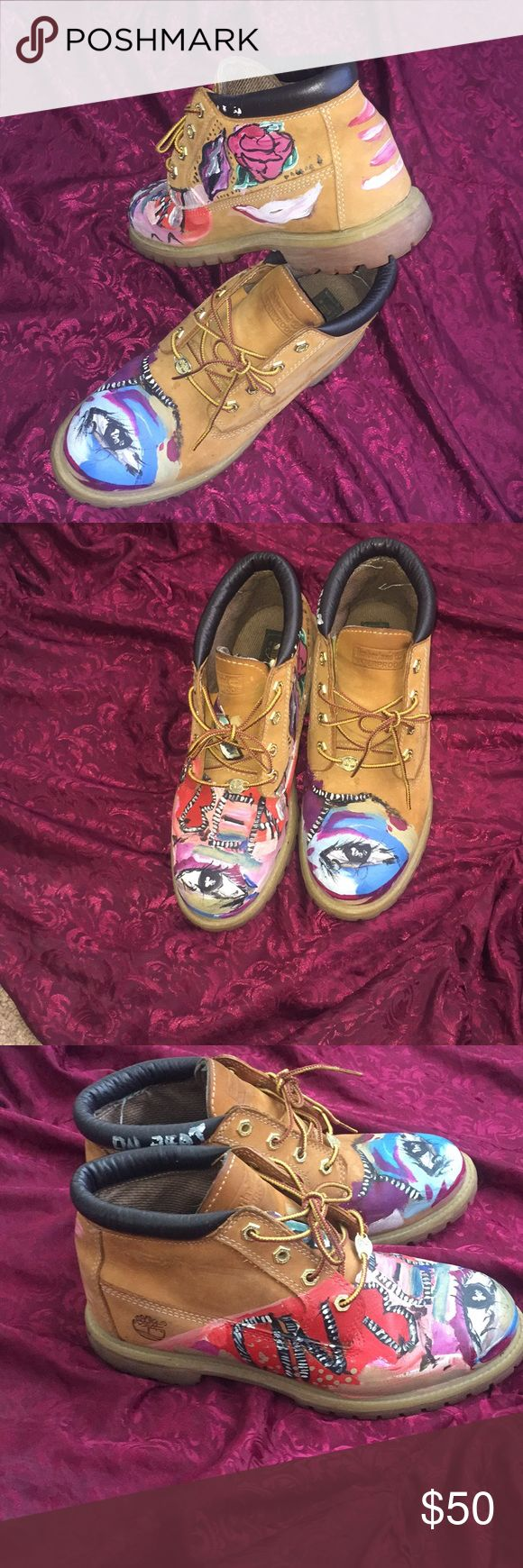 Hand Painted Women's Low Top Timberland Boots Hand Painted Custom Low Top Women's Timberland Boots Size 10 Timberland Shoes Winter & Rain Boots