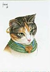 Zusje als Egyptische godin. ( In ancient times cats were worshipped as gods they have not forgotten this).