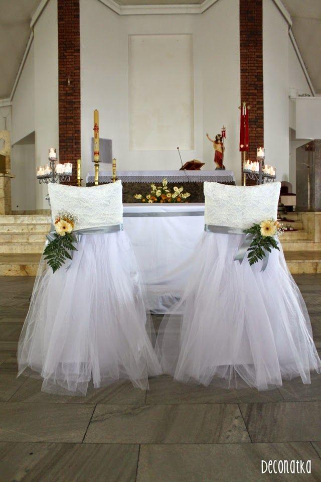 Wedding church decoration Wedding lace chair Dekoracje Kościoła w odcieniu herbacianym z nowymi dekoracjami krzeseł