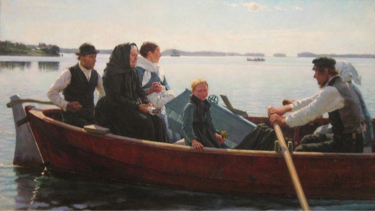 Albert Edelfelt, Lapsen ruumissaatto, 1879, realismi, Suomi