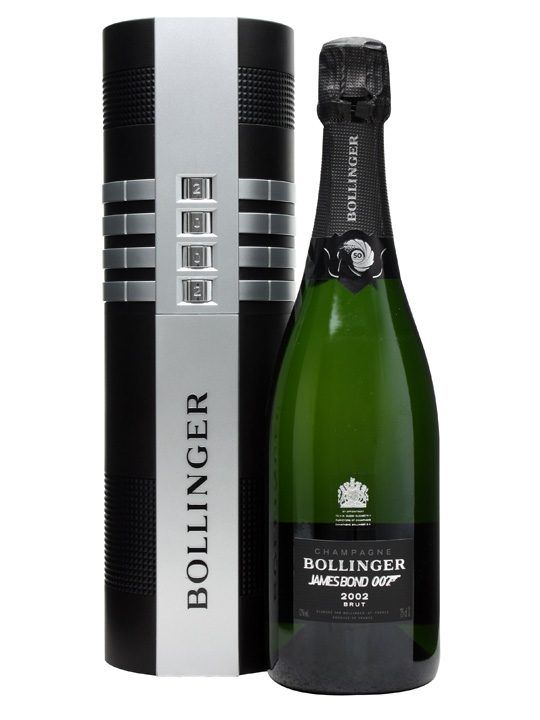 Bollinger James Bond 002 for 007 Limited Edition Champagne : Buy Online - The Whisky Exchange - A beautiful special edition of Bollinger's magnificent 2002 vintage champagne, released in a fabulous gun-silencer style gift pack to celebrate their long association with James Bond