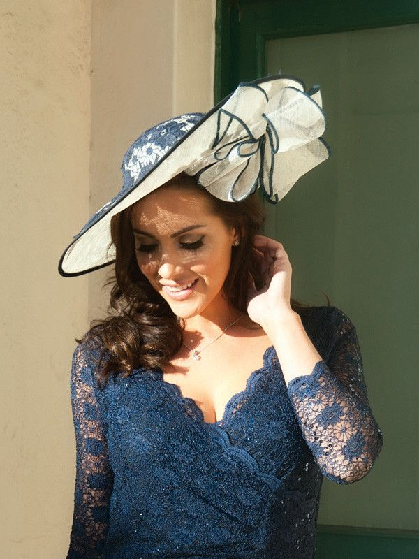 Ivory Navy Lace Hatinator Chesca Mother Of The Bride Hats And Fascinators