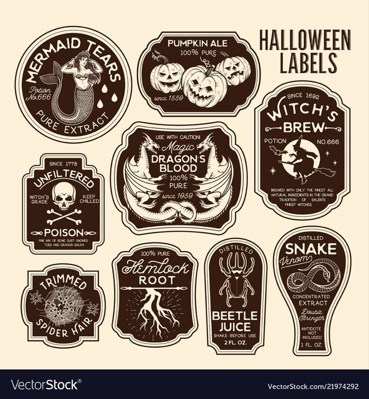 Halloween bottle labels potion labels Royalty Free…