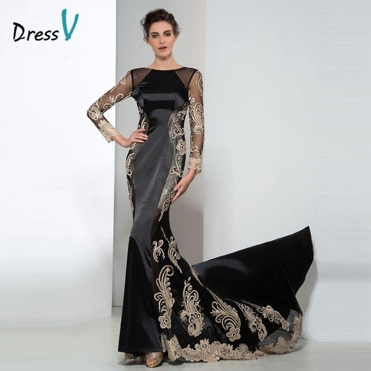 Dressv Black And Gold Lace Long Sleeves Plus Size Evening Dresses 2017 Designer Formal Dress Applique Holiday Party Prom Dresses #Affiliate
