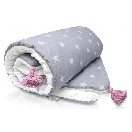 """Kocyk Minky """"White&Roses"""", Cat of the Moon.Świetnie utrzymuje ciepło, Twój maluszek wtuli się w niego i szybko zaśnie :)"""