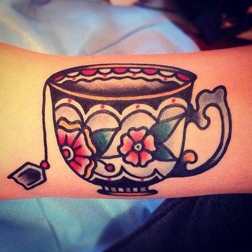 flowers and teacups tattoo | tattoos ink tat inked tea bag tattoo tea