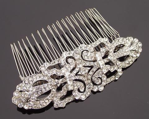 Art Deco Style Crystal Encrusted Wedding Hair Comb, Ellen C