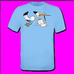 Stork with baby T-shirt. #ShirtCity #Cardvibes #Tekenaartje