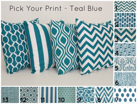 Etsy listing at https://www.etsy.com/listing/166060274/teal-throw-pillow-cover-pick-your-print