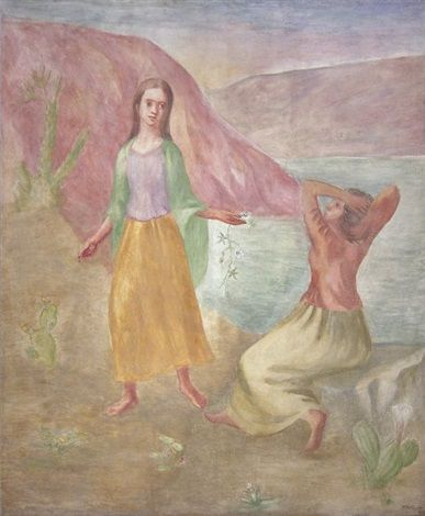 Dos mujeres en un paisaje con rio (1942) Juan Carlos Castagnino