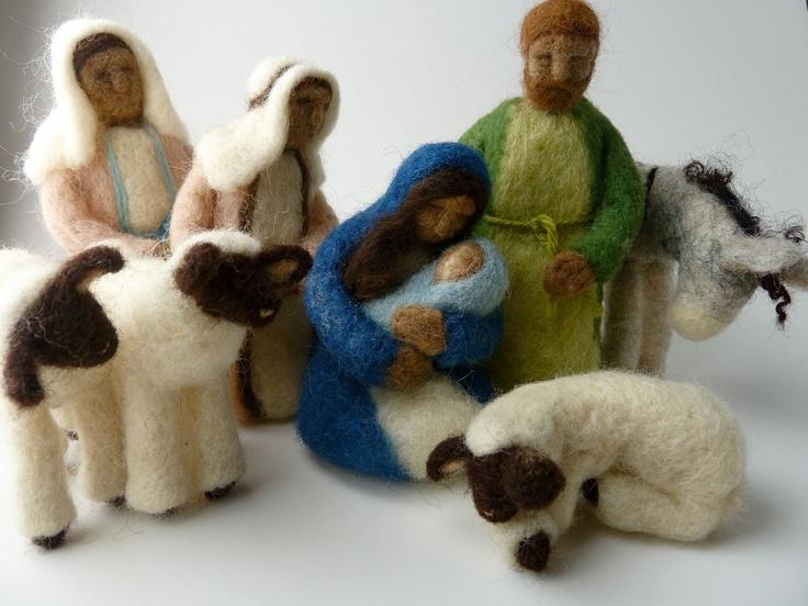 Nativity, 9 Piece Felted Wool Nativity Set. via Etsy.