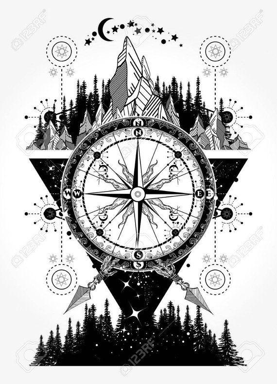 Tribal Design Temporary Tattoo Design 2x2 Inch Etsy Compass Tattoo Art Tattoo Tattoos