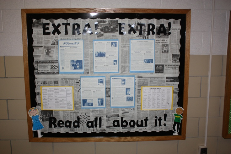newspaper as background for bulletin board