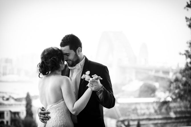 A beautiful impromptu first dance practice with the harbour bridge in the background #sydneywedding #sydneyweddingphotographer #brideandgroom