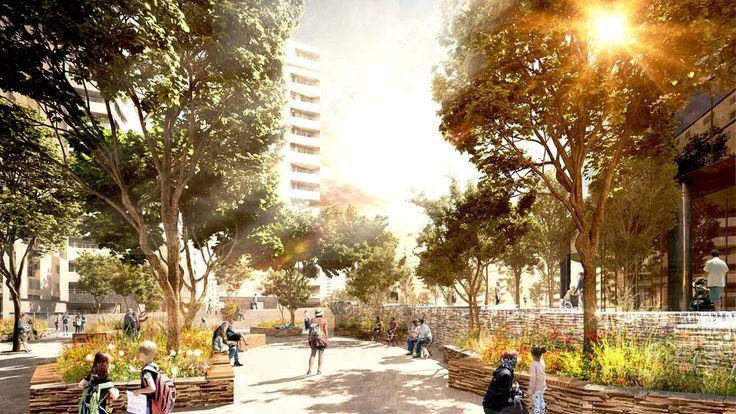 En lugnare del av den framtida Hagaplan blir mer parklik med skuggande träd och planteringar.