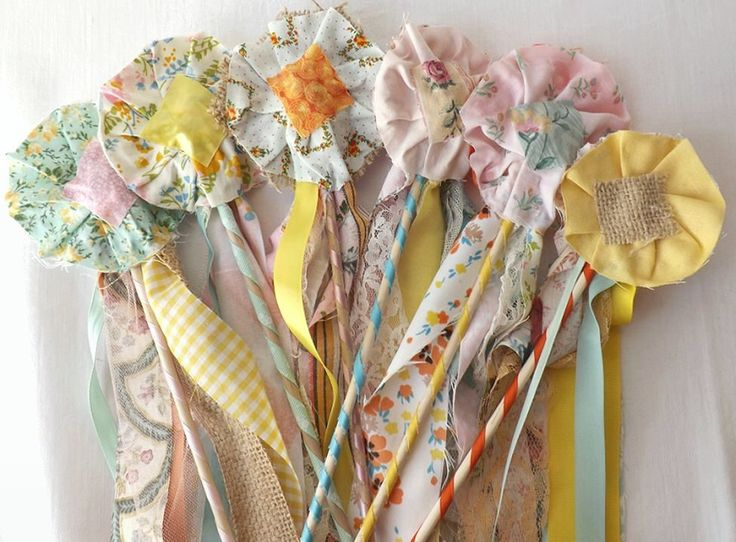 CIJ Sale 24 Flower Wands, Boho Wedding Decor, Fabric Fairy Wands, Bouquet Alternative, Bulk Party Favors, Wedding Ceremony, Reception Decor by AlteredEcoDesigns on Etsy https://www.etsy.com/listing/182771785/cij-sale-24-flower-wands-boho-wedding