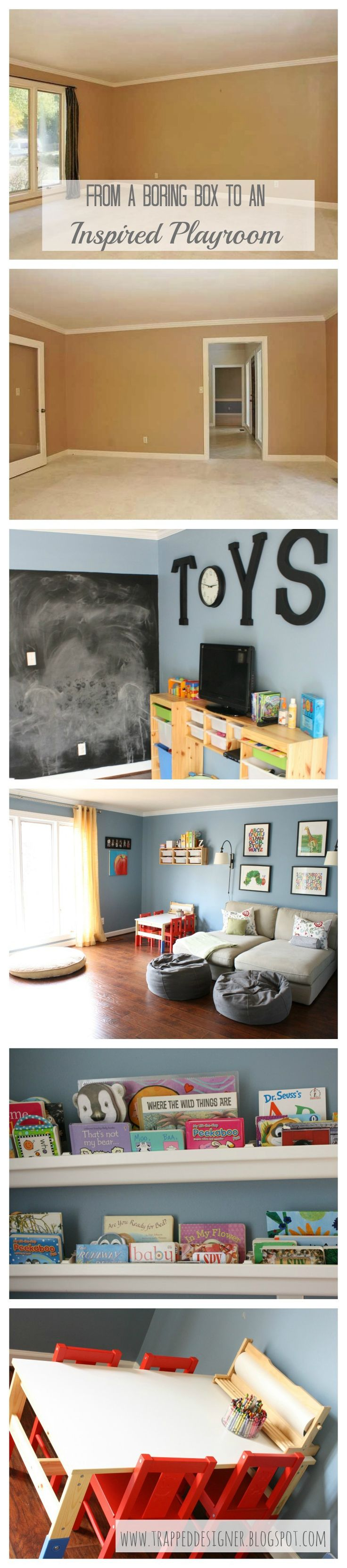 Pin now, read later!  How to transform a boring box into an inspired playroom from Designer Trapped in a Lawyer's Body.  www.trappeddesigner.blogspot.com