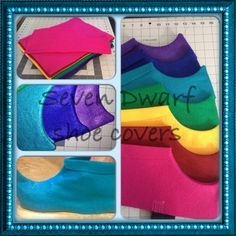 Felt shoe covers for Snow White and the Seven Dwarfs play ~CustombySchultz, 08/30/14 Dwarf Shoes / Shoe Covers / Costume Shoes