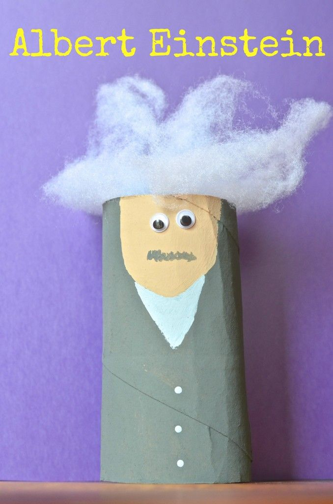 Albert Einstein Toilet Paper Tube kids craft - perfect for science historical figures and homeschool lessons & preschool
