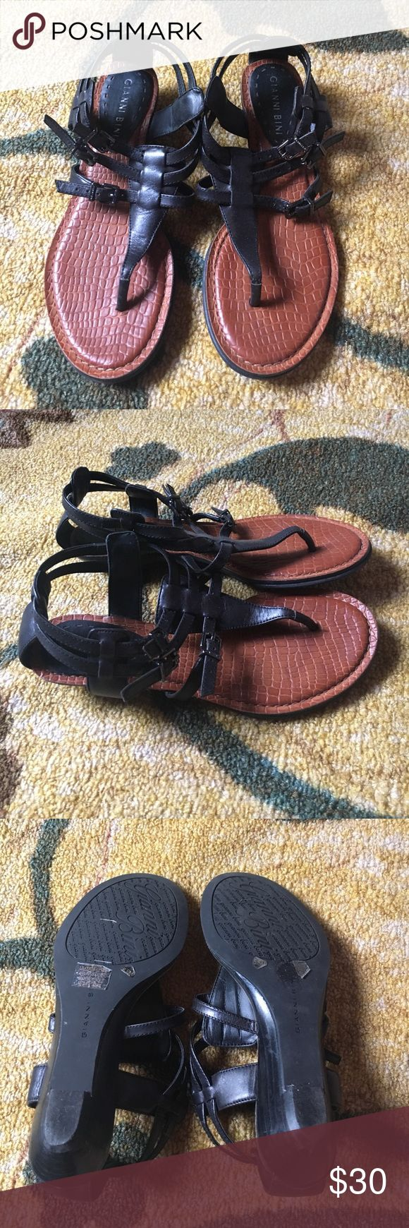 Gianni Bini Gladiator Sandals Worn a few times. Adjustable straps. Leather upper. Small wedge heel. Gianni Bini Shoes Sandals