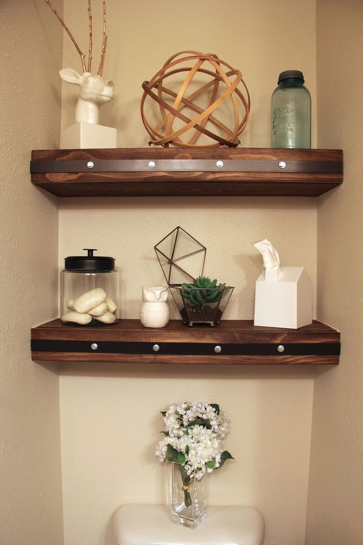 Best 25 decorating bathroom shelves ideas on pinterest for Washroom decoration ideas