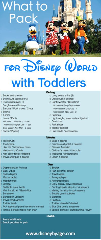 What to Pack for a Toddler at Disney World (Packing List) :http://www.disneybyage.com/toddler-disney-world-packing-list/
