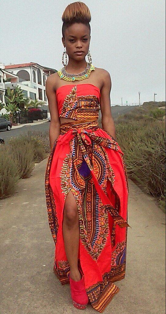 Orange Dashiki Print Skirt Set by StyledtoDress on Etsy ~ African fashion, Ankara, kitenge, Kente, African prints, Braids, Asoebi, Gele, Nigerian wedding, Ghanaian fashion, African wedding ~DKK