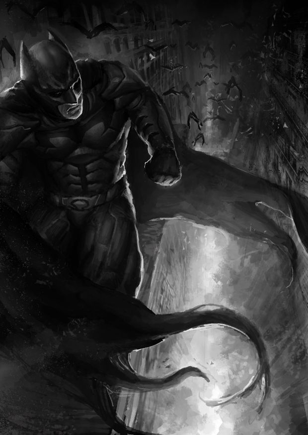 Batman Black and White by AznKyuubi.deviantart.com