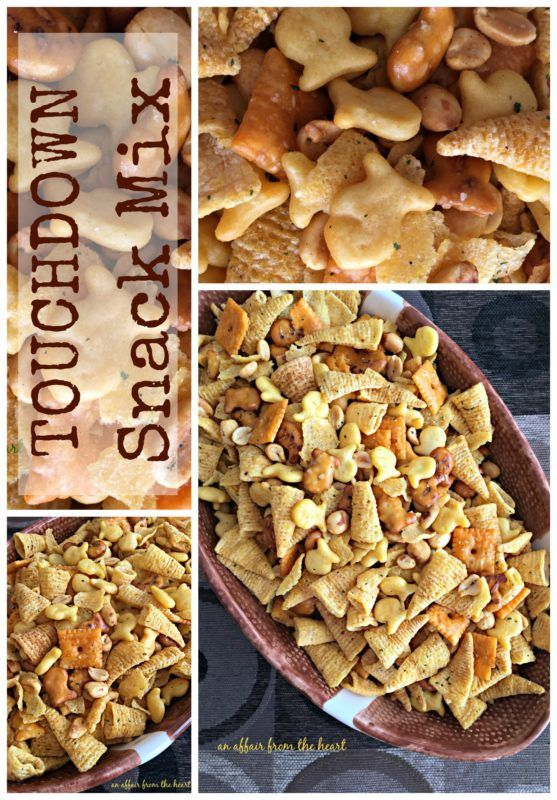 Touchdown Snack Mix - An Affair from the Heart -- You've got a new favorite snack mix! This one is so buttery and yummy you won't be able to leave it alone! Made with popcorn oil, ranch seasoning and all of your favorites!
