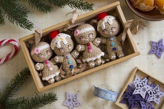 Set of 4 Crochet Gingerbread men christmas tree toys