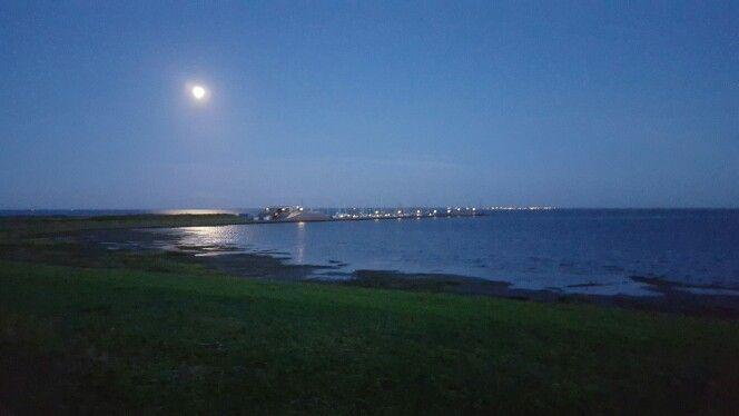 De maan boven de have #marinaschier #waddenzee
