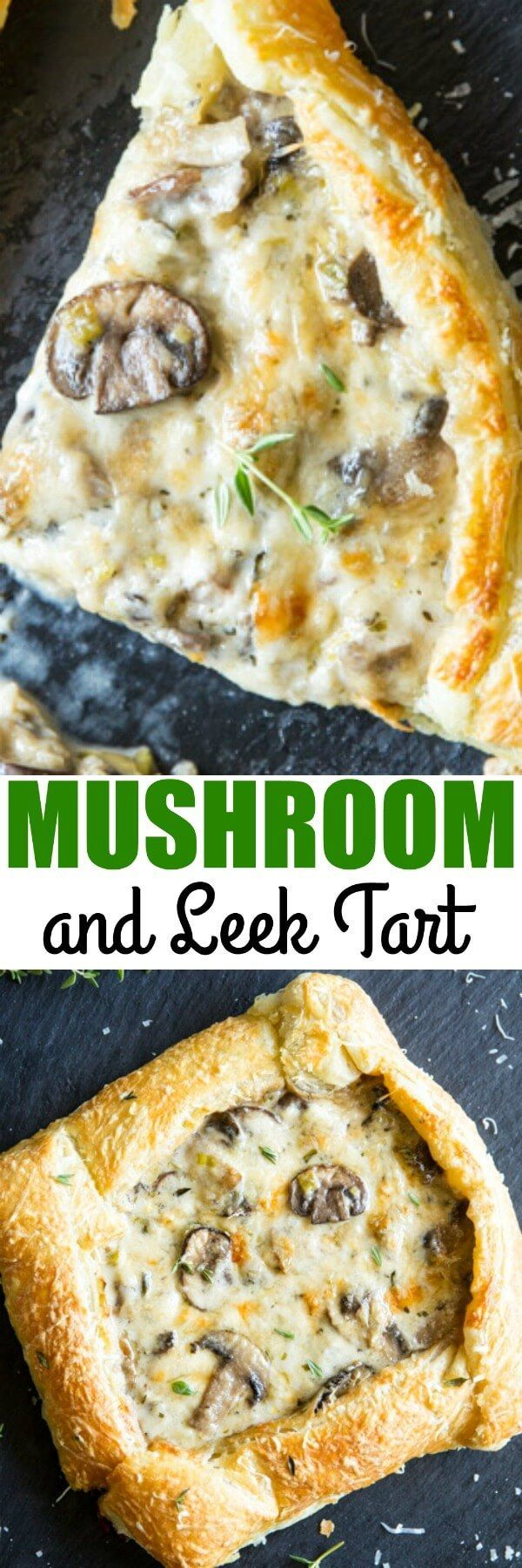 A soft and buttery puff pastry crust makes this Mushroom and Leek Tart the easiest around! The filling is extra cheesy and delicious, too. via @culinaryhill