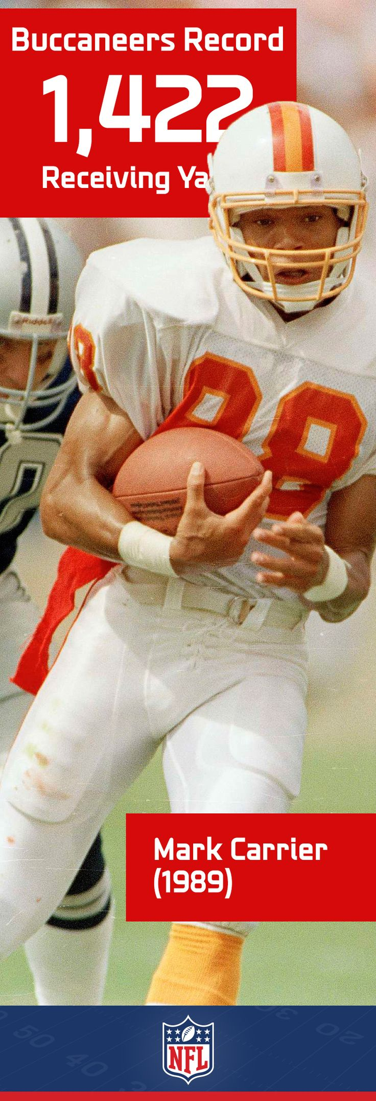 Mark Carrier had a career year in 1989 when he snagged 1,422 receiving yards and 9 touchdowns.