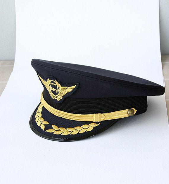 Vintage Pilot Hat Airline pilot hat Collectible by VintageCorner42