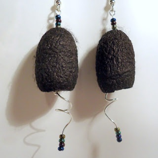 Black dyed silk cocoon earrings by Bramalfie Beads Etc. (Cocoons from The Rainbow Girl on Etsy) 20/01/2013